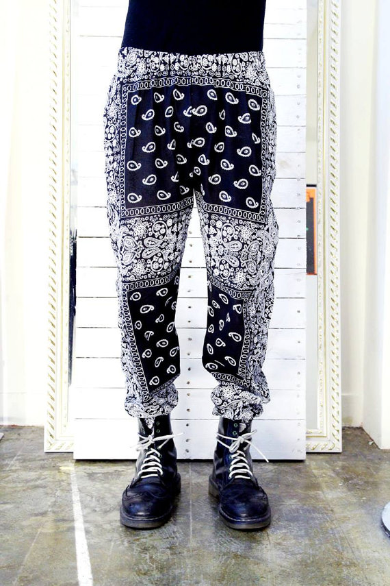 Bandana pant w/ elastic hem by mrrikvilla on etsy