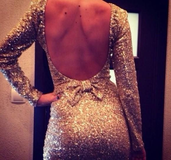 gold glitter dress short dress backless dress golden golden dress long sleeves dress Bow Back Dress glitters