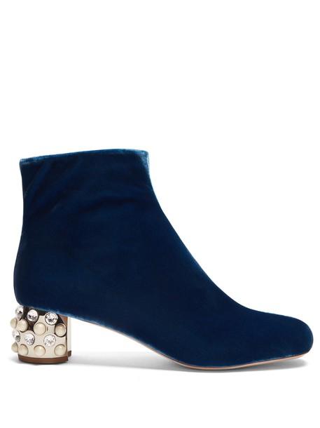 Miu Miu heel velvet boots embellished velvet blue shoes
