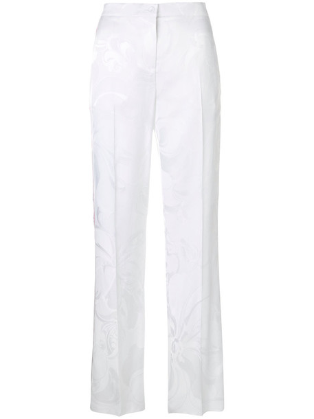 pants track pants women jacquard white silk