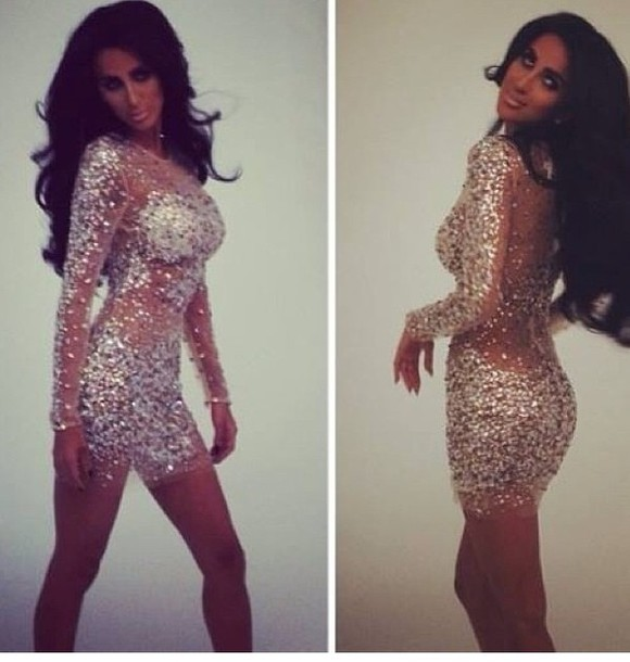 dress sequins nude mesh fitted bodycon short