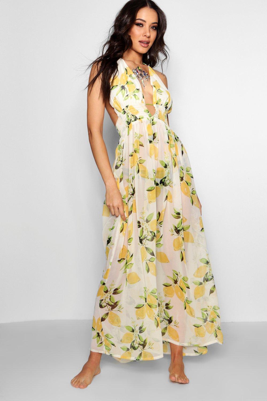 Lemon Print Maxi Beach Dress | Boohoo