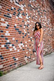 the material girl,blogger,jumpsuit,shoes,bag,sunglasses,jewels,striped jumpsuit,summer outfits