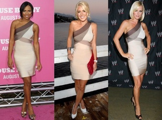 dress nude dress beige dress one shoulder dresses herve leger bandage dress celebrity style short party dresses
