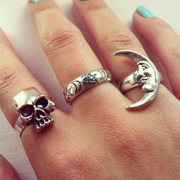 Jewels Ring Moon Stars Skull Indie Hipster Tumblr