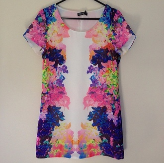 dress floral purple dress yellow dress rainbow tunic fluro neon blue dress floral dress pink dress