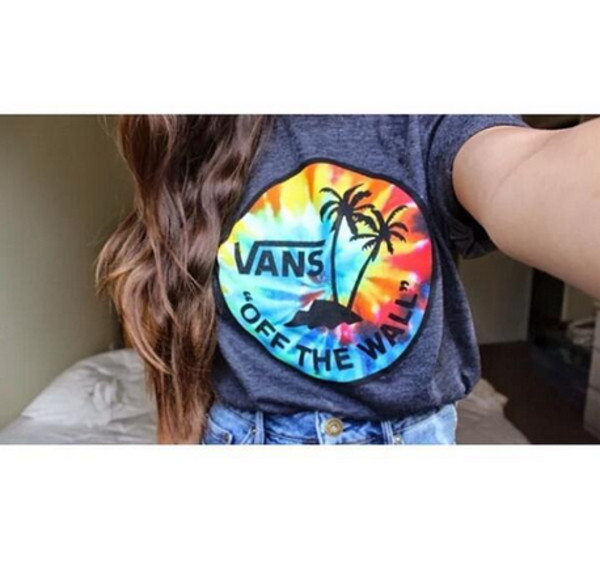 t-shirt vans blogger tumblr girl tumblr off the wall vans vans t-shirt tropical cute summer t-shirt