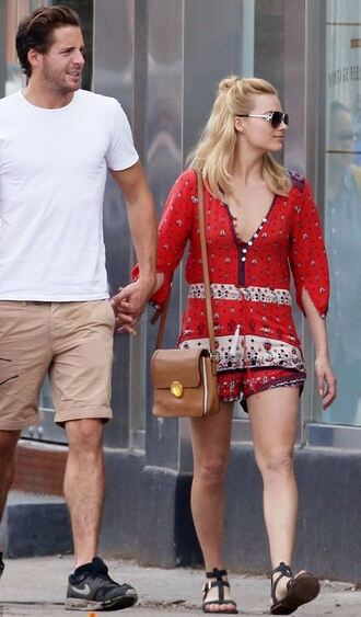 romper summer outfits margot robbie summer purse sunglasses