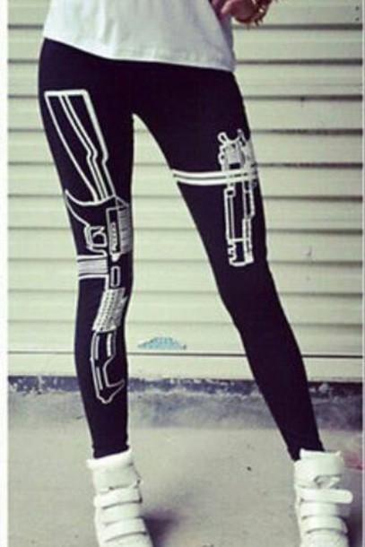 leggings pistol gun print
