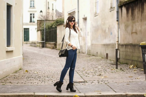 meet me in paree blogger top jeans shoes dress cardigan bag