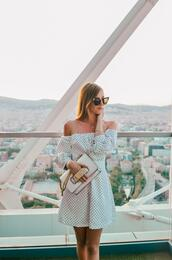 vogue haus,blogger,dress,bag,sunglasses,j'adore,dior bag,summer outfits,off the shoulder dress