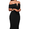 Black off shoulder v neck sexy party dress