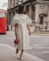 dress,white dress,midi dress,cotton,pumps,handbag