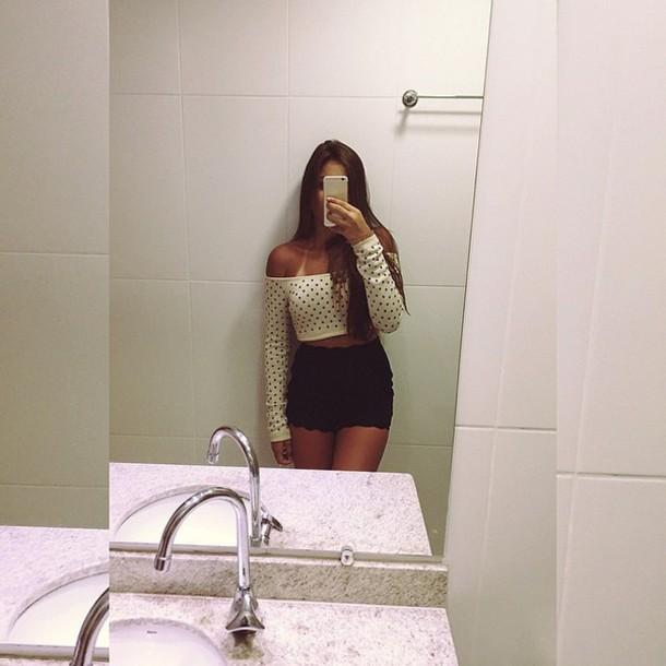 blouse polka dot blouse cardigan casaco short renda preto white estrelinha look banheiro