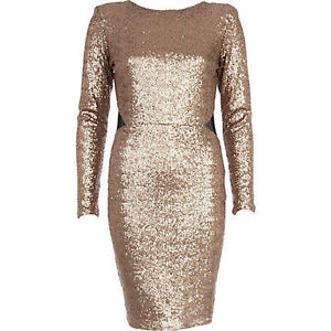 BNWT River Island Gold Sequin Open Back Dress Size 14 | eBay