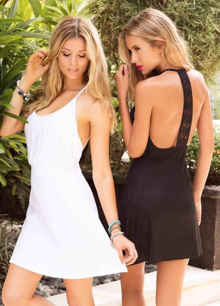 dress little black dress lace dress lace back white dress white short dress summer dress sexy dress cover up cover up