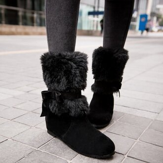 shoes boots black warm cozy fluffy winter outfits flats trendsgal.com