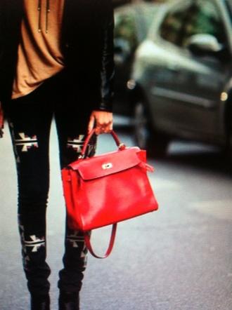 bag red bag leather bag