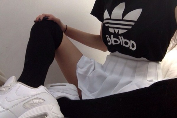 adidas shoes yung lean nike sad shirt black white stockings tennis skirt grunge aesthetic aesthetic tumblr skirt tumblr