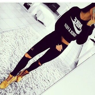 sweater clothes nike cropped sweater black ripped jeans black nike logo sweater all black everything