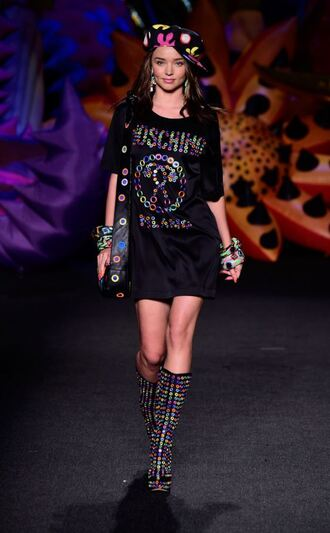 dress boots hat purse miranda kerr colorful mini dress tunic dress tunic runway model moschino bracelets