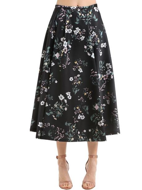 ROCHAS Floral Printed Duchesse Satin Midi Skirt in black