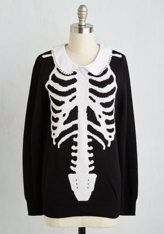 sweater pastel goth bones sweater bones black sweater