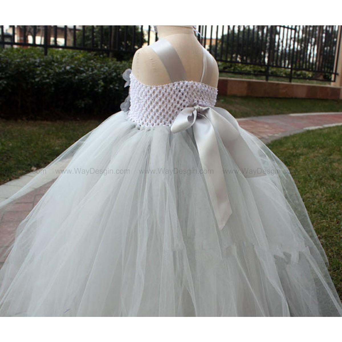 Grey flower girl tutu dress baby dress toddler birthday dress wedding tutu dress with headband