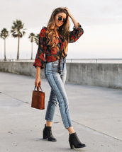 jeans,tumblr,blue jeans,side stripe pants,patchwork,boots,black boots,ankle boots,shirt,floral,floral shirt,bag,brown bag,sunglasses