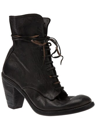 boot women lace leather black shoes