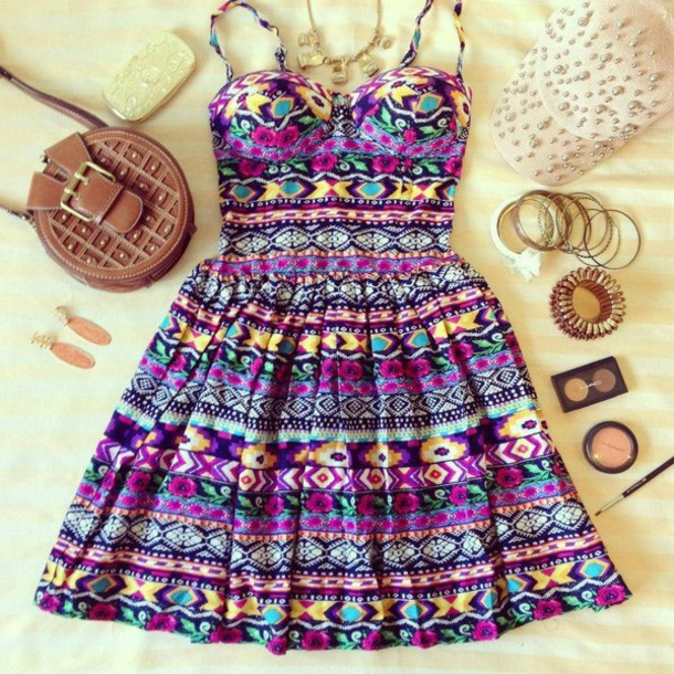 dress summer dress cute dress aztec bustier dress bag