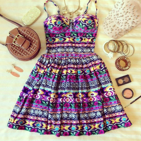 dress summer dress cute dress aztec bustier dress bag