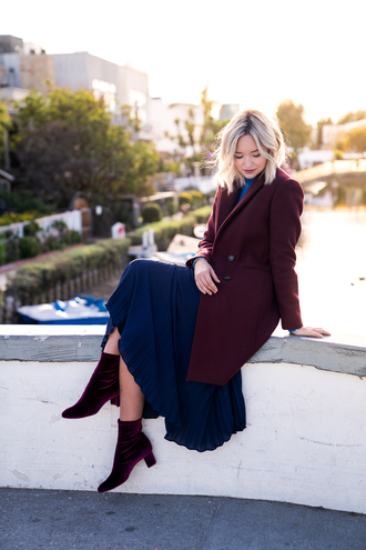 late afternoon blogger coat skirt shoes ankle boots blue skirt winter outfits