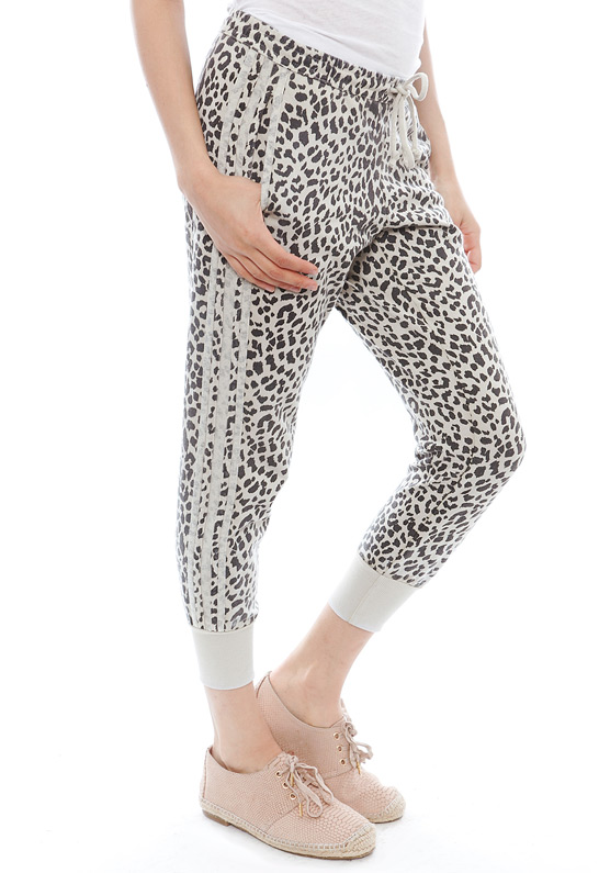 Chaser Animal Print Reverse Panel Slouchy Pant | SINGER22.com