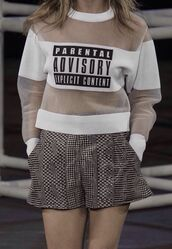 sweater,swag,yolo,hipster,funny,love,tumblr,mesh,jumper,parental advisory explicit content