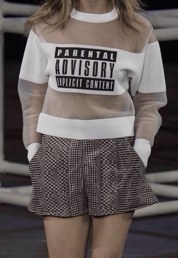 sweater swag yolo hipster funny love tumblr mesh jumper parental advisory explicit content