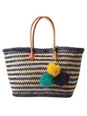 bag,pompom bag,pom poms,basket bag,straw bag,beach bag,pompom basket bag,basket tote,blue  basket bag