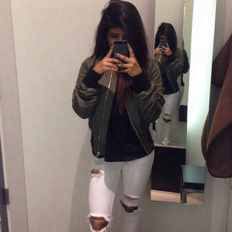 coat bomber jacket kylie jenner top jeans pants khaki bomber jacket