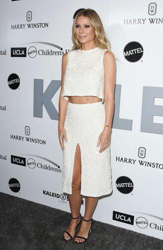 skirt top two-piece gwyneth paltrow sandals sandal heels crop tops crop