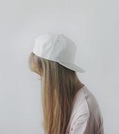 white cap,snapback,white snapback,hat