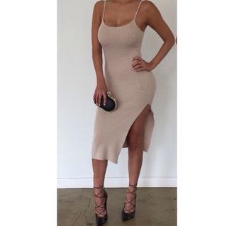 dress midi dress nude cream bodycon dress midi bodycon dress slit dress