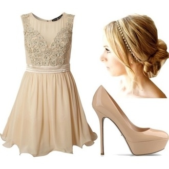 dress cream flowers shoes prom dress high heels hair accessory jewels bridesmaid