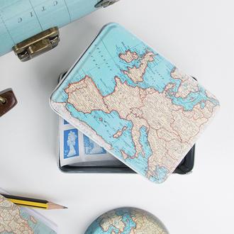 home accessory tin atlas map print design vintage storage cute gift ideas map print