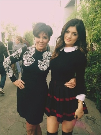 skirt kylie jenner tartan skirt tartan peter pan collar jumper