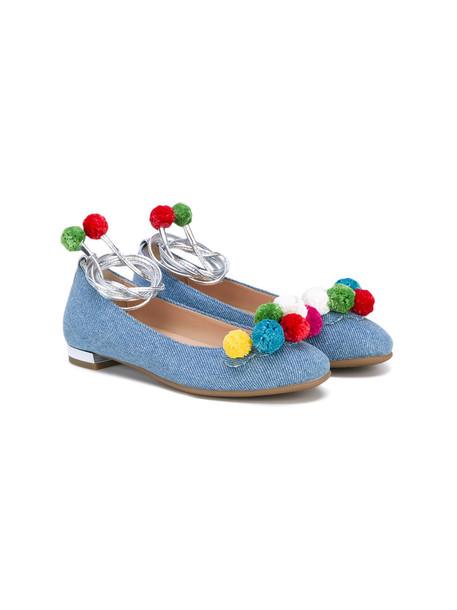leather cotton blue shoes