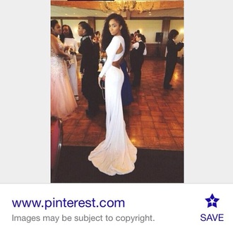 dress white white dress long dress prom dress long sleeves long prom dress backless dress backless