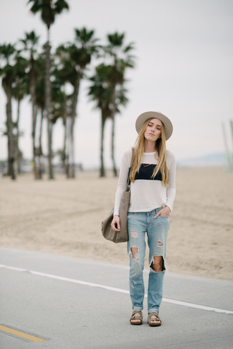 eat sleep wear blogger hat casual birkenstocks maxi bag white sweater ripped jeans