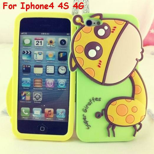 Brand New Cartoon Silicone Protector Pouch Case 3D Giraffe Sika deer Soft Skin Cover For Iphone4 4S 4G Free shipping 10pcs/lot-in Phone Bags & Cases from Electronics on Aliexpress.com