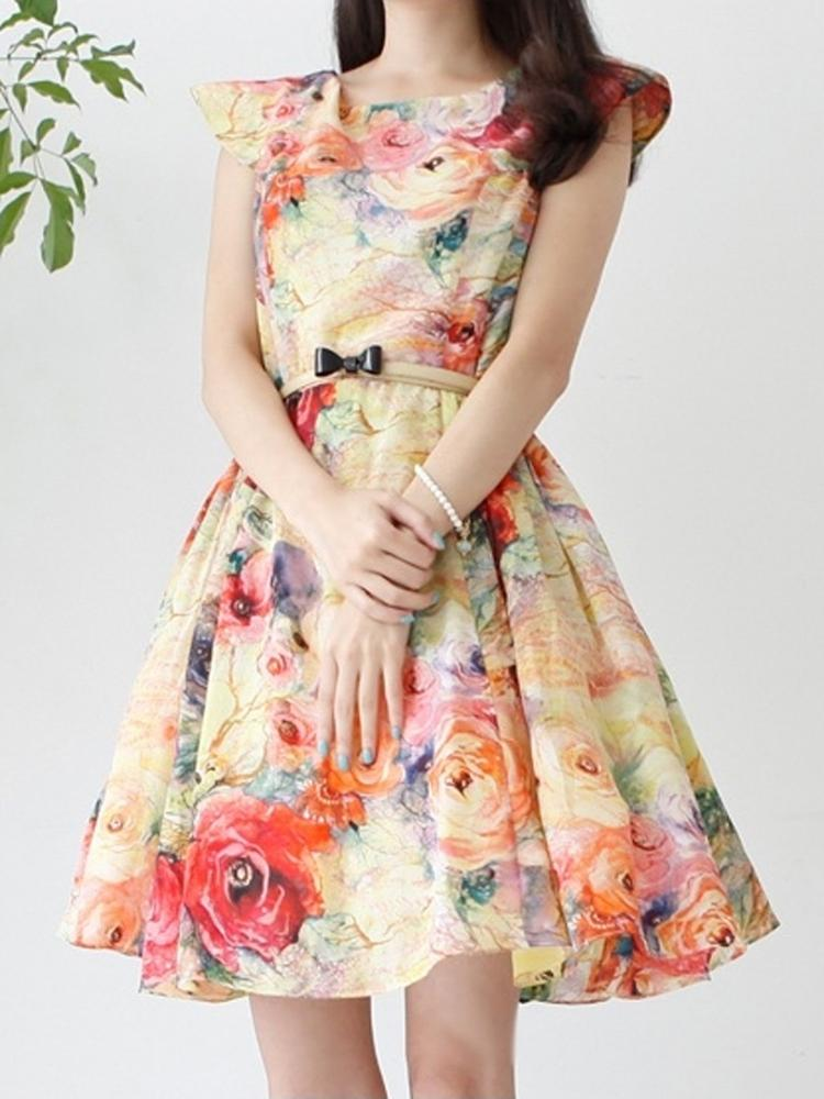 Floral Throughout Mid Dress | Choies