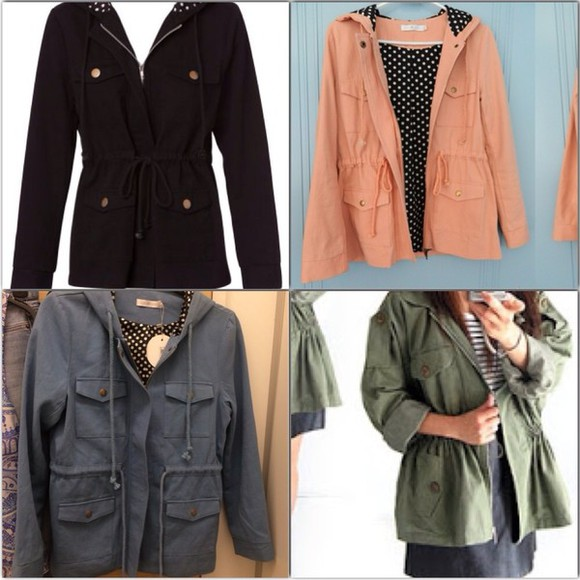 blue polka dot black spots pink coat jacket khaki green quirky circus mink pink anorak military military jacket pink jacket blue jacket black jacket khaki jacket green jacket